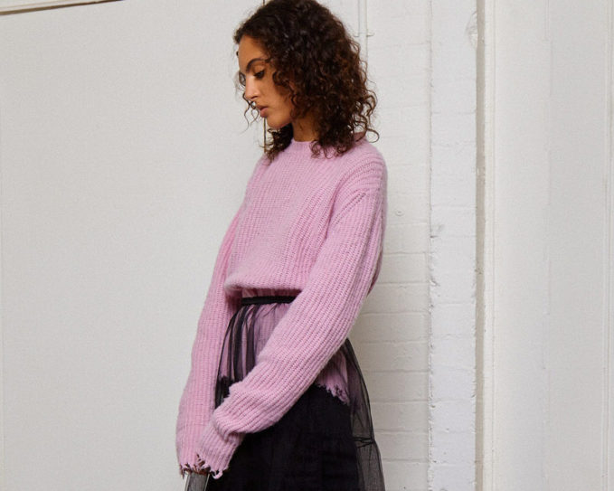 MSGM Frayed Ribbed Knit Sweater