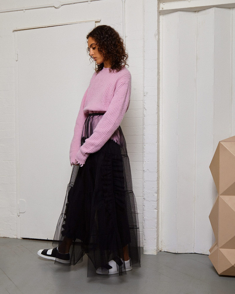 MSGM Long Tiered Tulle Skirt