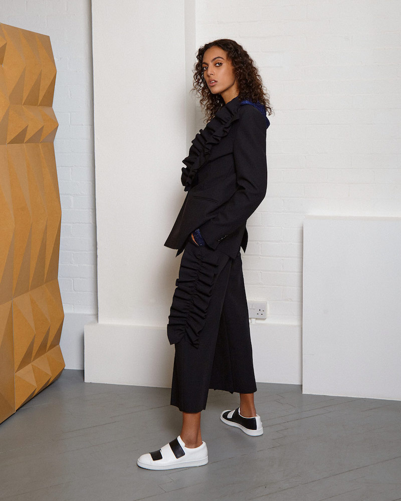 MSGM Ruffled Wide Leg Cropped Pants