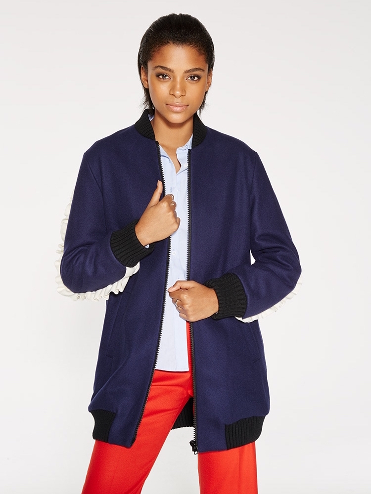 MSGM Wool Bomber Jacket with Ruffle