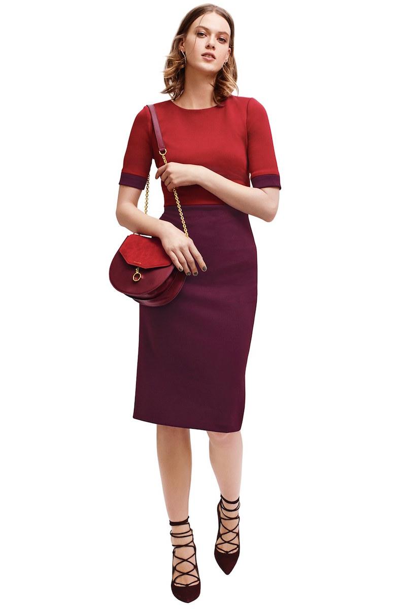 Maggy London Colorblock Scuba Midi Dress