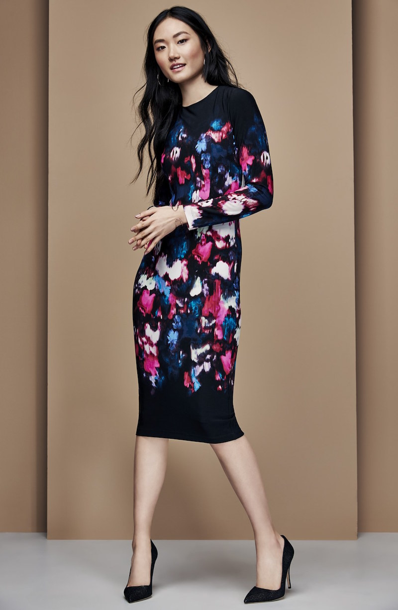 Maggy London Print Jersey Midi Dress