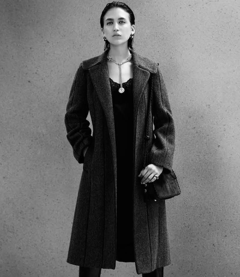 Maison Mayle Tweed & Leather Coat