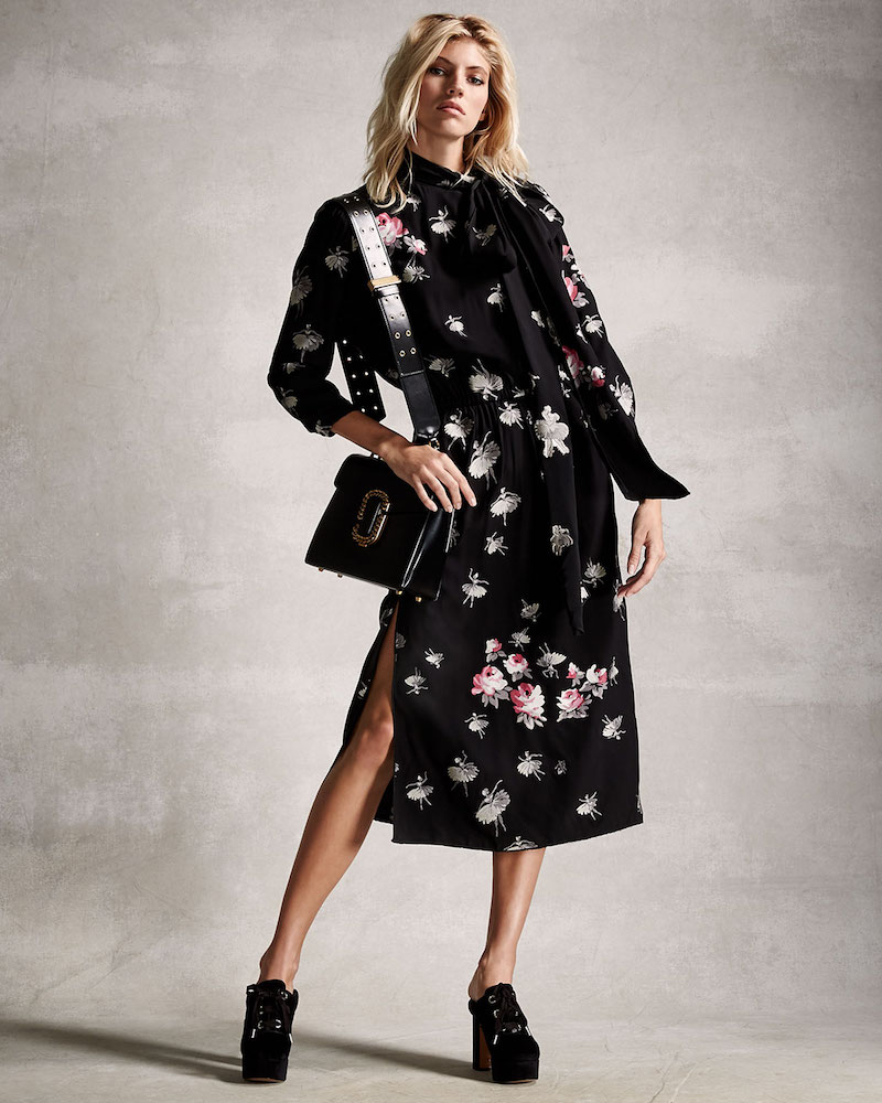 Marc Jacobs Ballerina-Print 3/4-Sleeve Tie-Collar Dress
