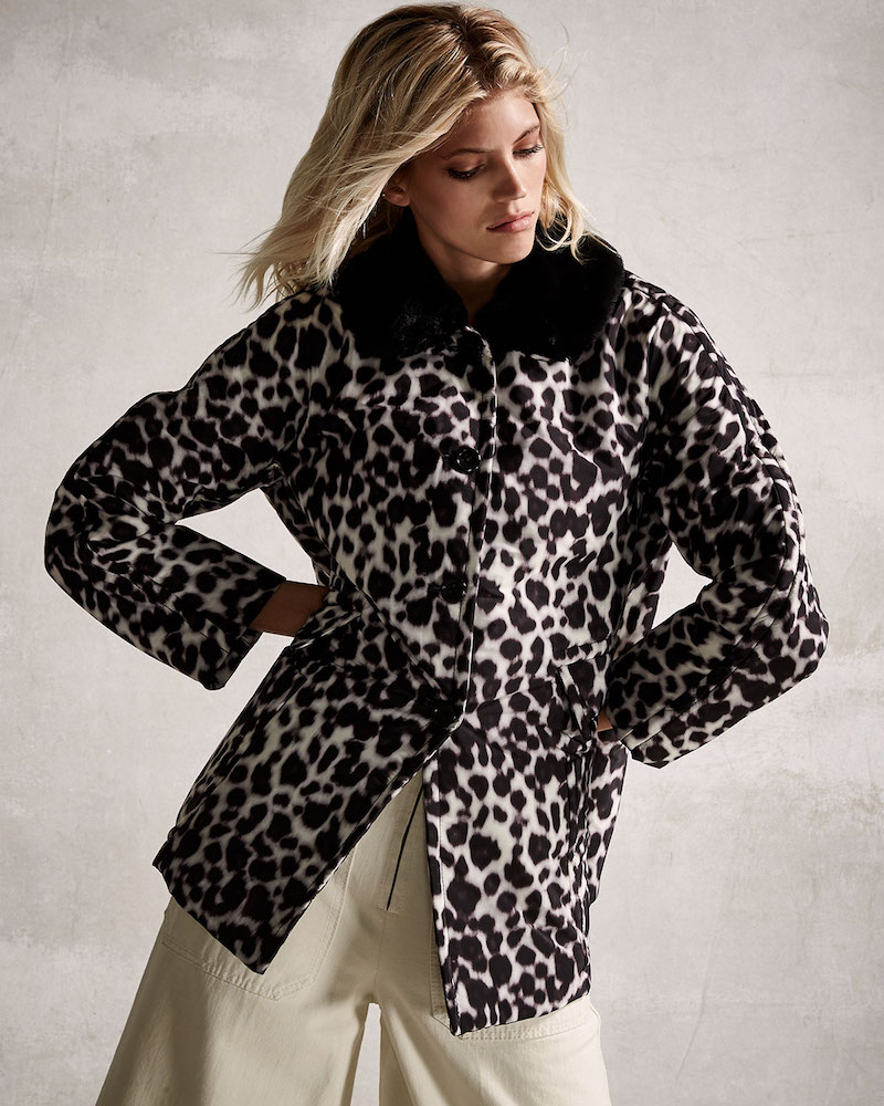 Marc Jacobs Leopard-Print Coat with Faux-Fur Collar