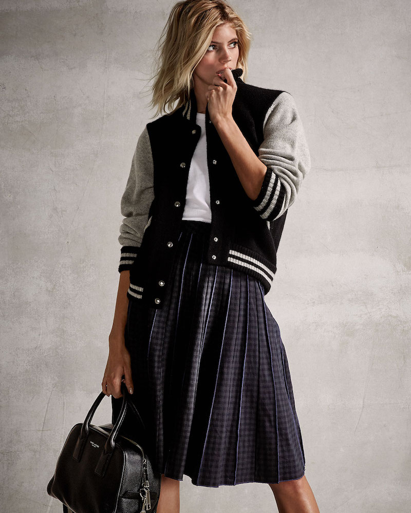 Marc Jacobs Pleated Gingham A-Line Skirt