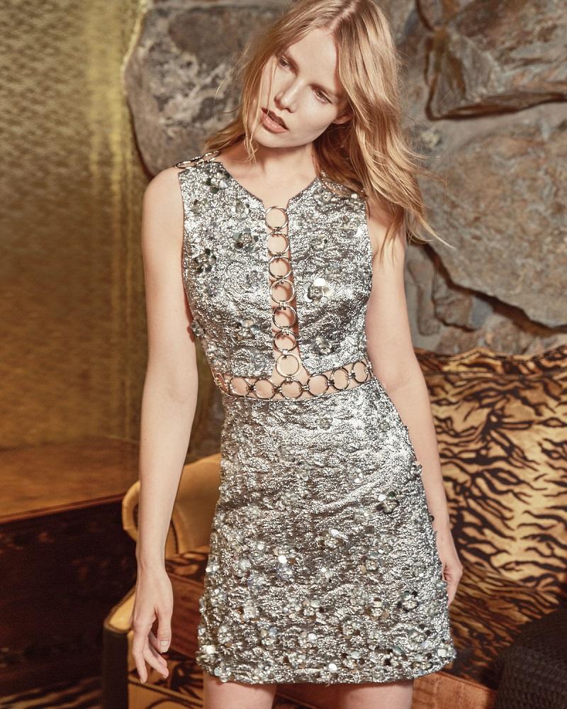 Michael Kors Collection Sleeveless Floral-Appliqué Metallic Dress