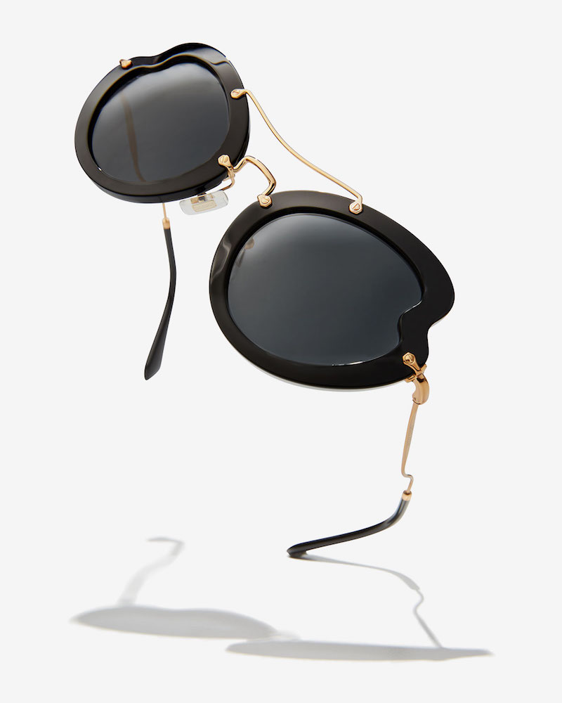 Miu Miu Waved Trimmed Monochromatic Sunglasses