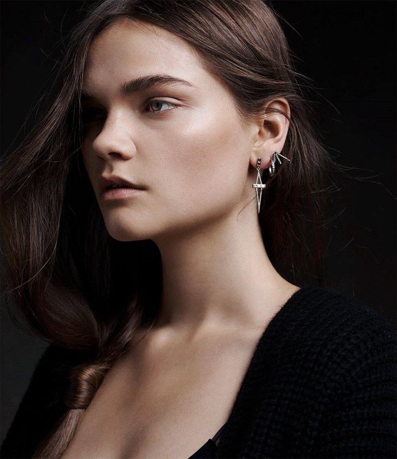Monique Péan Atelier White Diamond Geometric Drop Earrings