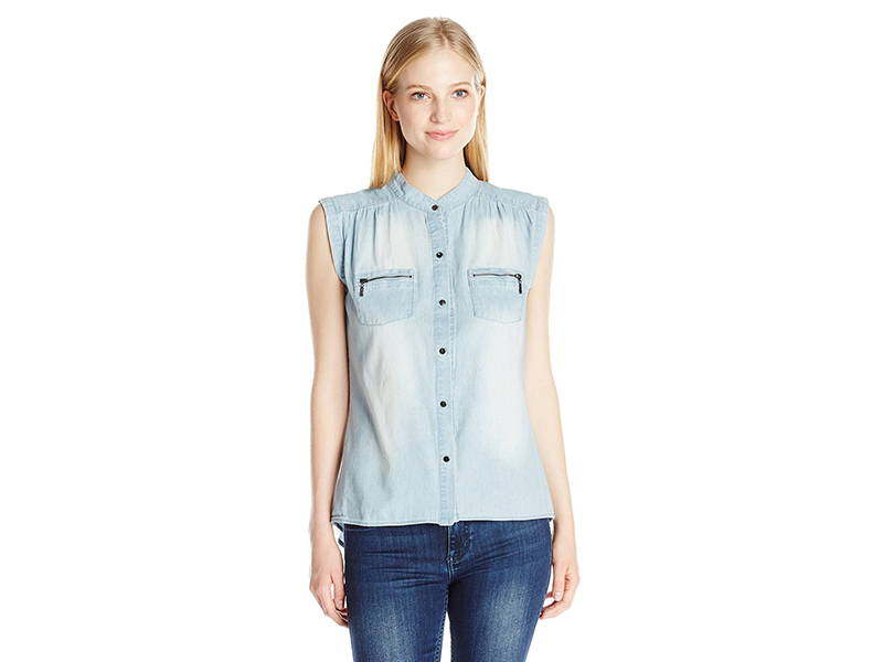 My Michelle Denim Button Up Top with Split Back and Front Pockets