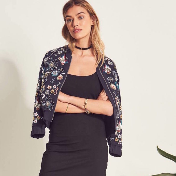 Needle & Thread Embellished Butterfly Garden Bomber