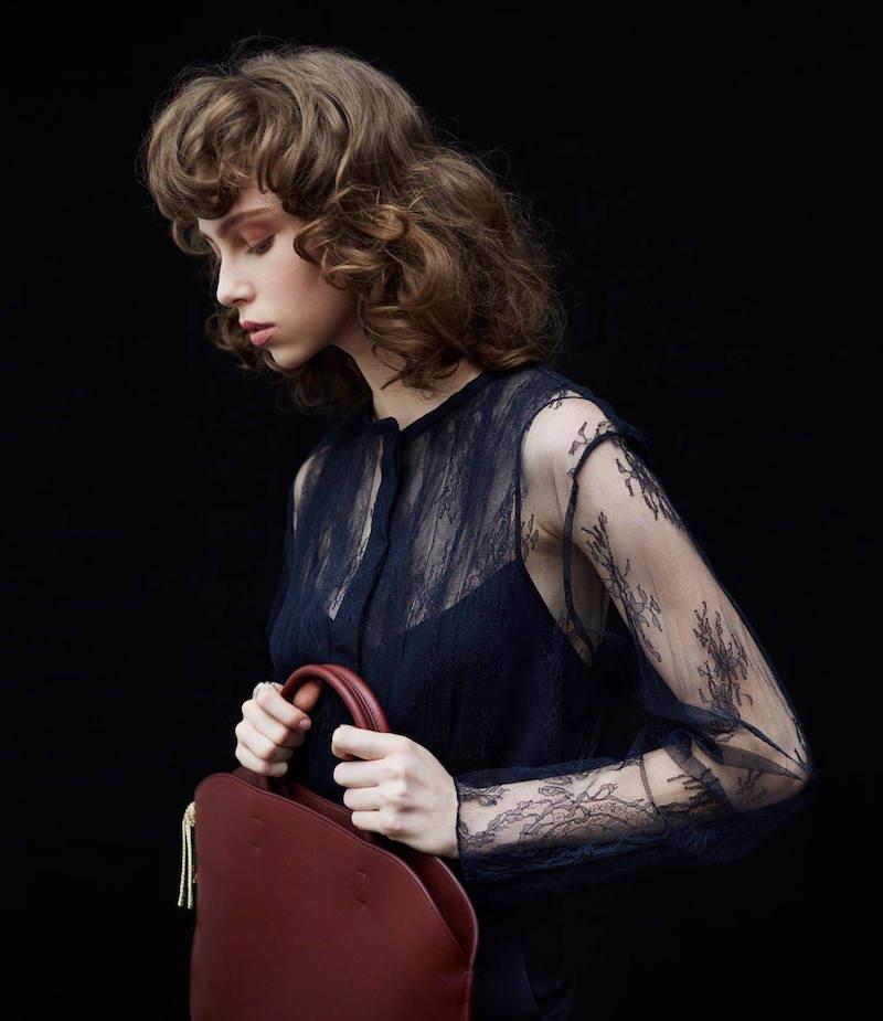 Nina Ricci Lace Pleated-Front Blouse