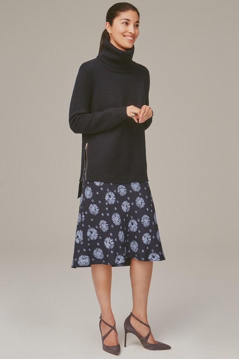 Nordstrom Signature and Caroline Issa Brenda Floral Print Silk Georgette Skirt