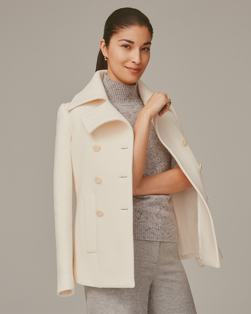 Nordstrom Signature and Caroline Issa Stretch Melton Peacoat