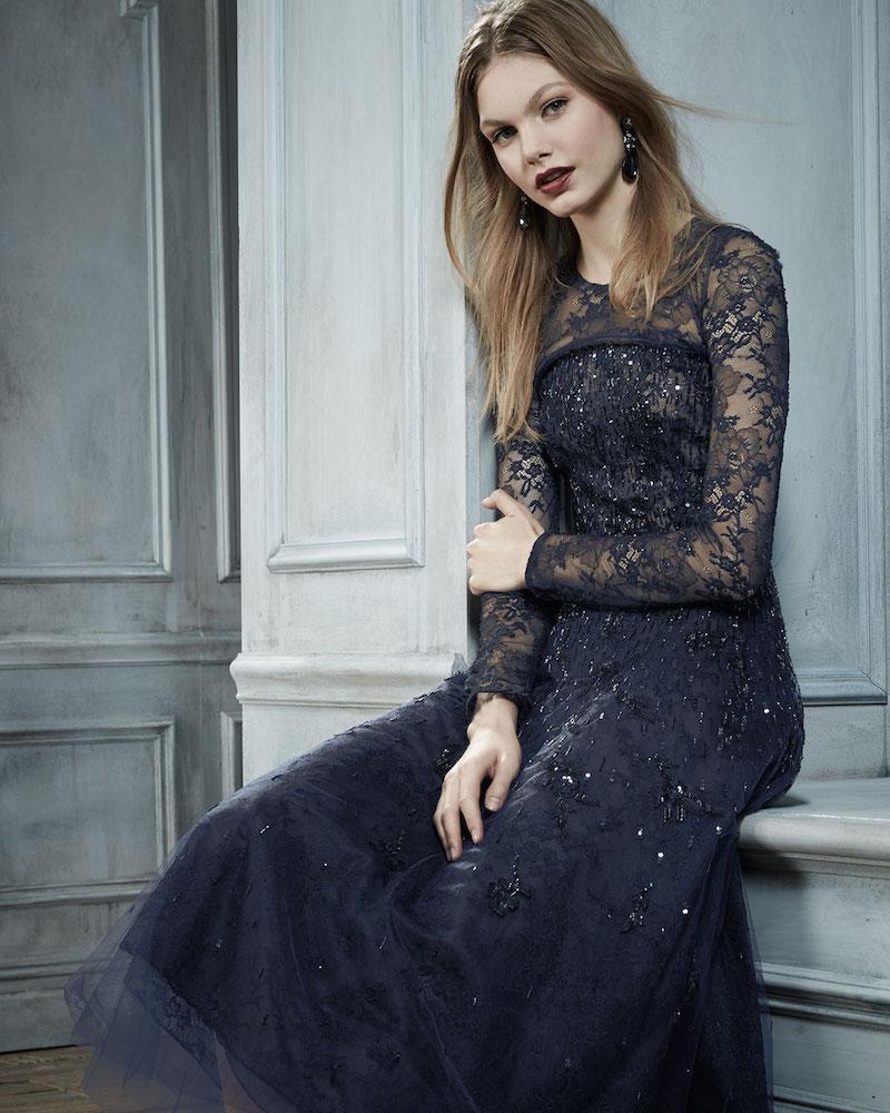 Oscar de la Renta Long-Sleeve Degrade Embellished Midi Dress