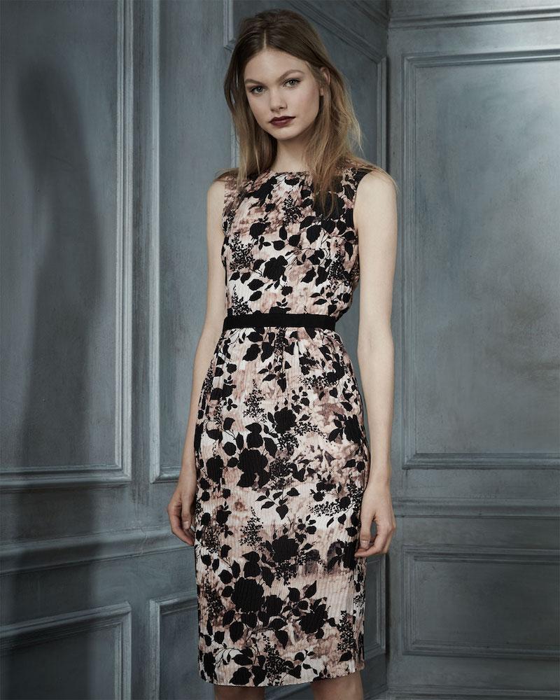 Oscar de la Renta Pleated Floral Sleeveless Dress