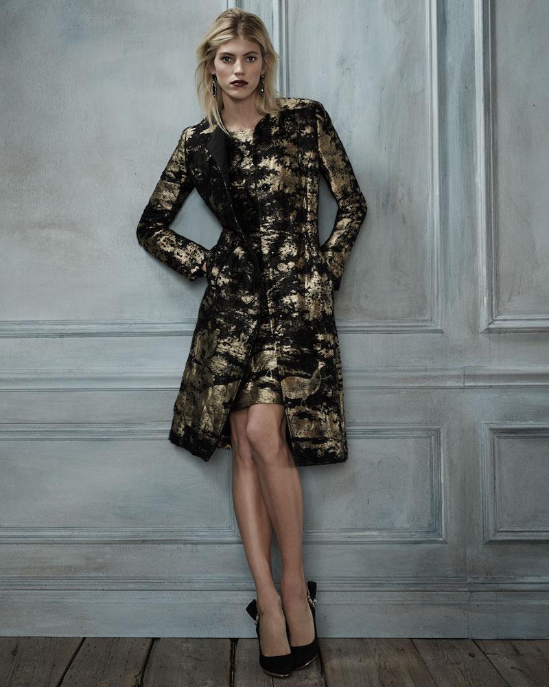 Oscar de la Renta Sleeveless Jewel-Neck Metallic Dress
