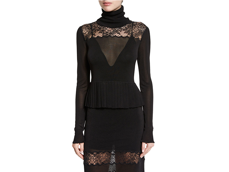 Rachel Zoe Marge Lace-Yoke Turtleneck Top_1