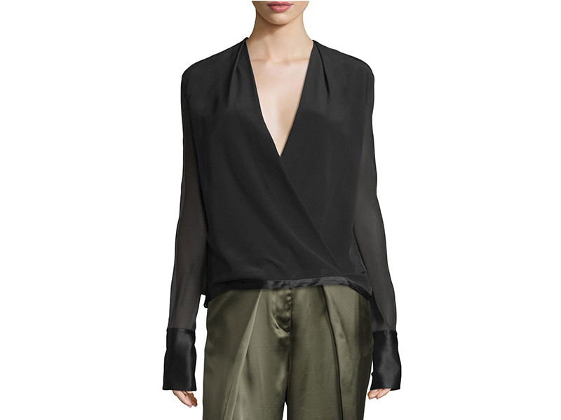 Rag & Bone Blaine Silk Chiffon Surplice Top_1