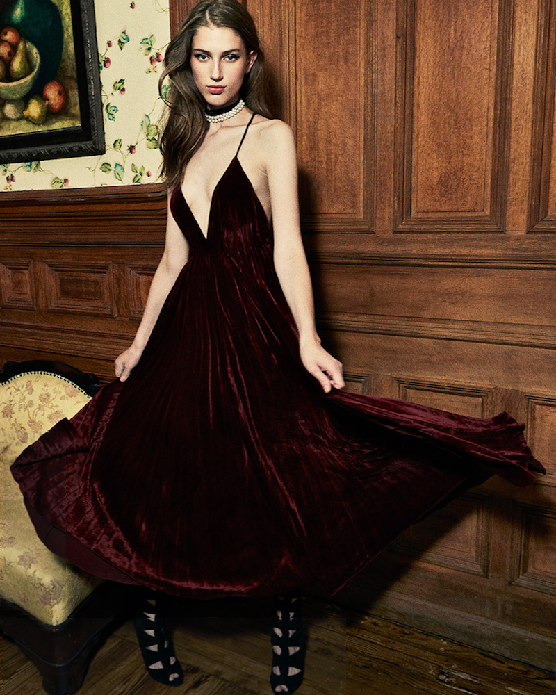Ralph Lauren Collection Leona Pleated Velvet Gown