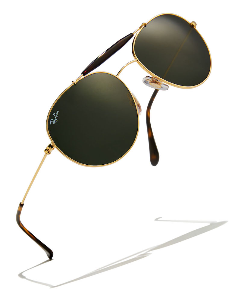 Ray-Ban Mirrored Round Brow-Bar Sunglasses