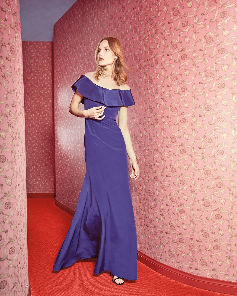 Rickie Freeman for Teri Jon Off-the-Shoulder Silk Ruffle Gown