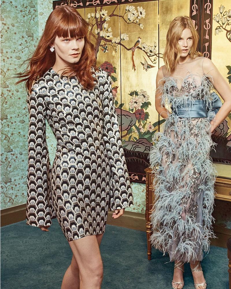 Rubin Singer Hexagon-Jacquard Bell-Sleeve Dress
