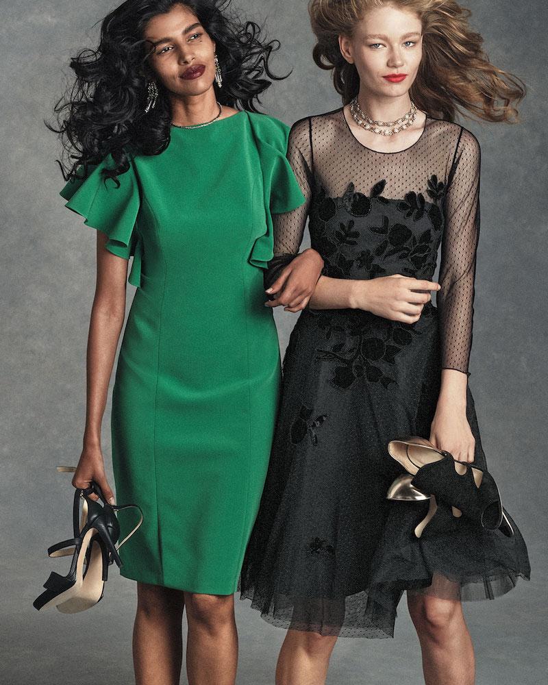 Sachin & Babi Noir Flutter-Sleeve Crepe Sheath Dress
