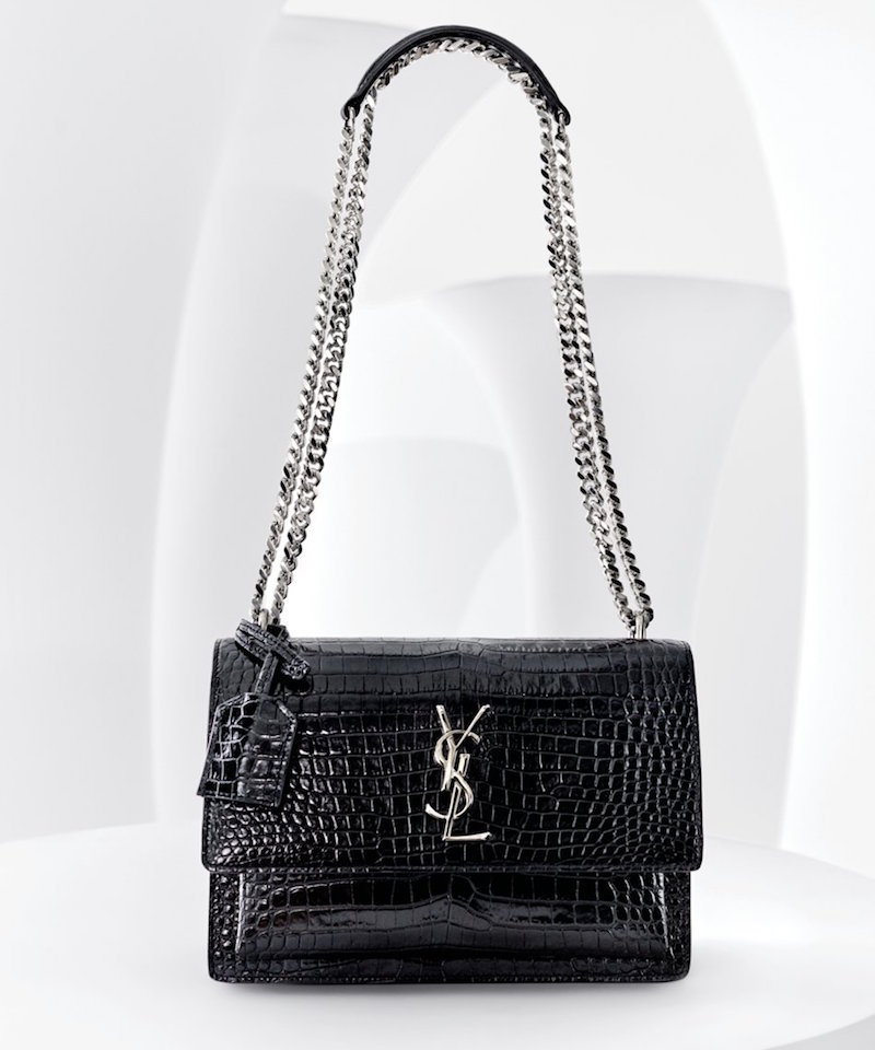 Saint Laurent Monogram Sunset Croc-embossed Bag