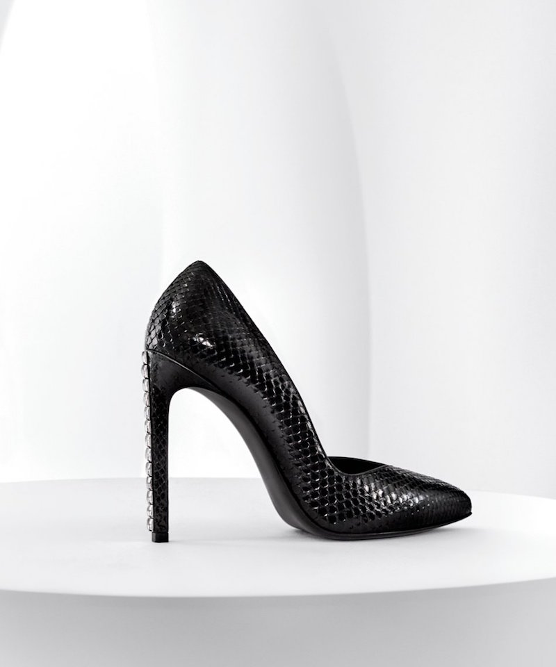 Saint Laurent Paris Crystal Heel Snake Embossed Pointy Toe Pump
