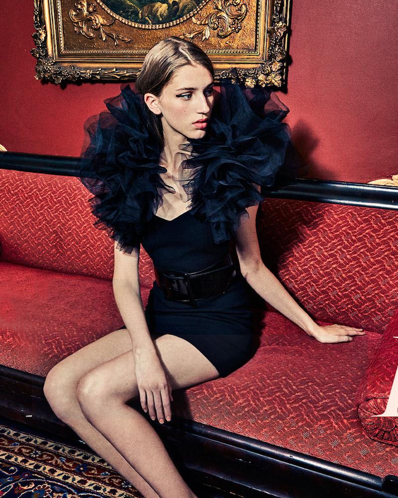 Saint Laurent Ruffled Tulle-Shoulder Cocktail Dress