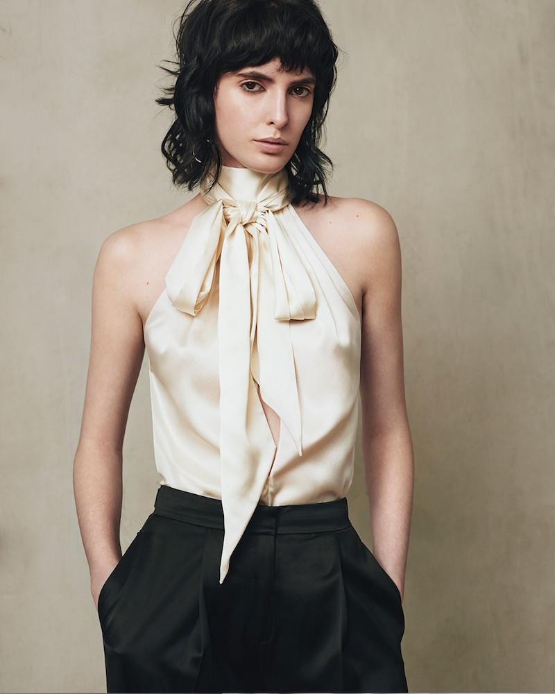 Saint Laurent Tie-neck Silk-satin Sleeveless Blouse