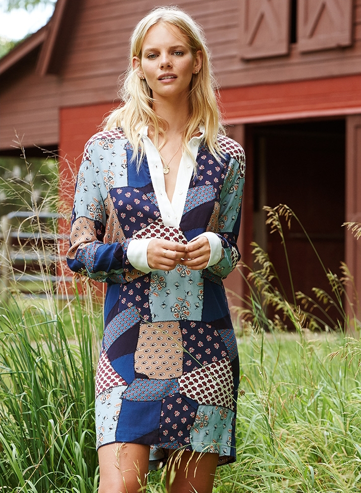 Sea Patchwork Shirtdress