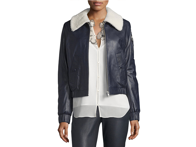 See by Chloé Leather Bomber Zip-Front Jacket_1