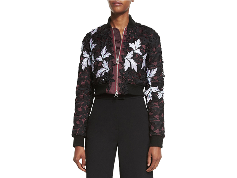 Self Portrait Floral-Lace Satin Cropped Bomber Jacket_1