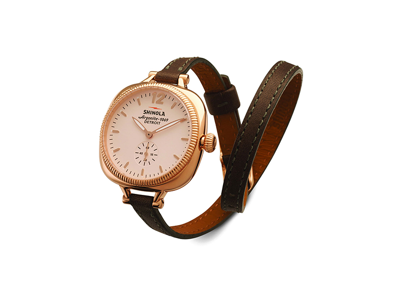 Shinola The Gomelsky Rose Golden Watch with Double-Wrap Leather Strap