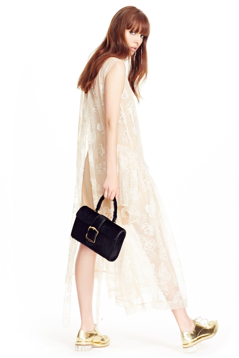 Simone Rocha Tinsel Embroidered Button Front Chiffon Dress