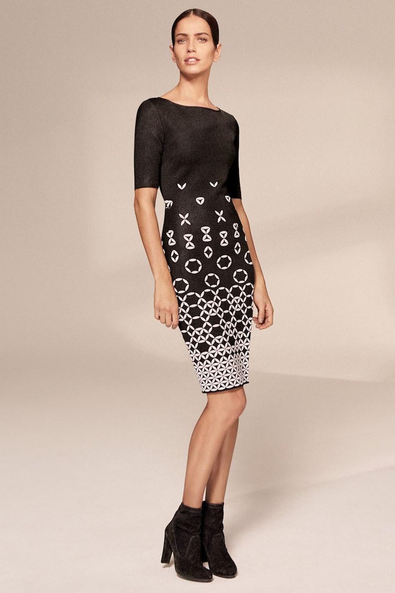 St. John Collection Graphic Knit Sheath Dress