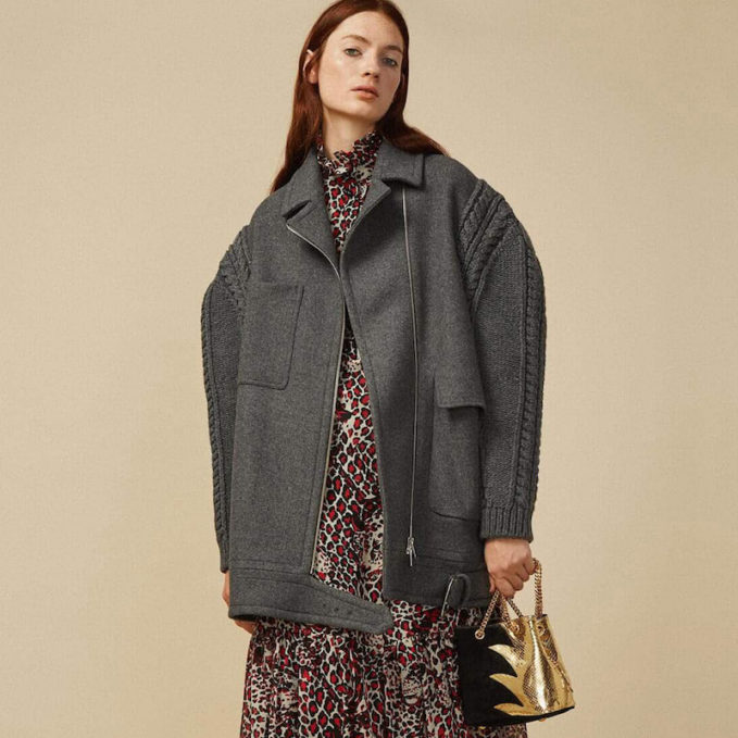 Stella McCartney Knitted Sleeve Felted Wool Coat