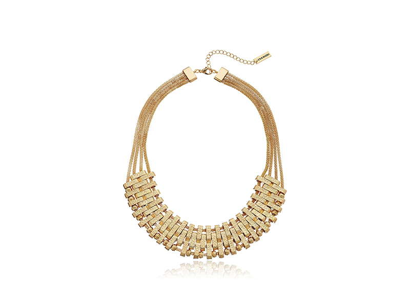 Steve Madden Hammered Metal mod Statement Necklace