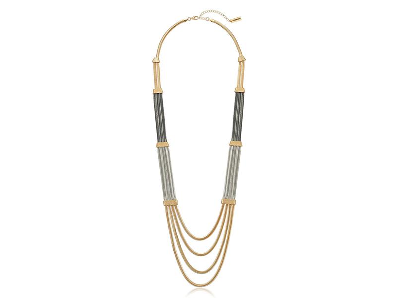 Steve Madden Tri Tone Snake Chain Station Necklace
