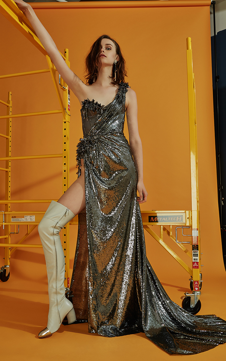The Blonds One Shoulder Sequin Goddess Gown