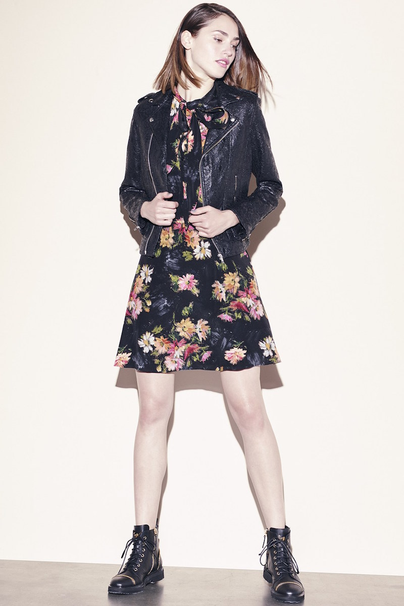 The Kooples Floral Print Silk Dress