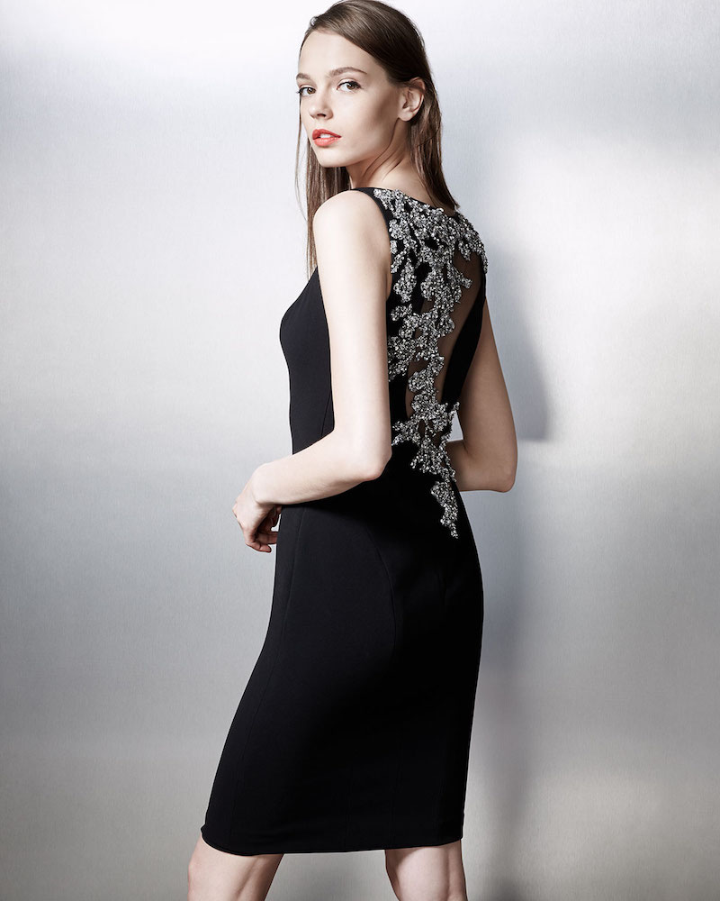 Theia Sleeveless Embellished-Back Sheath Dress