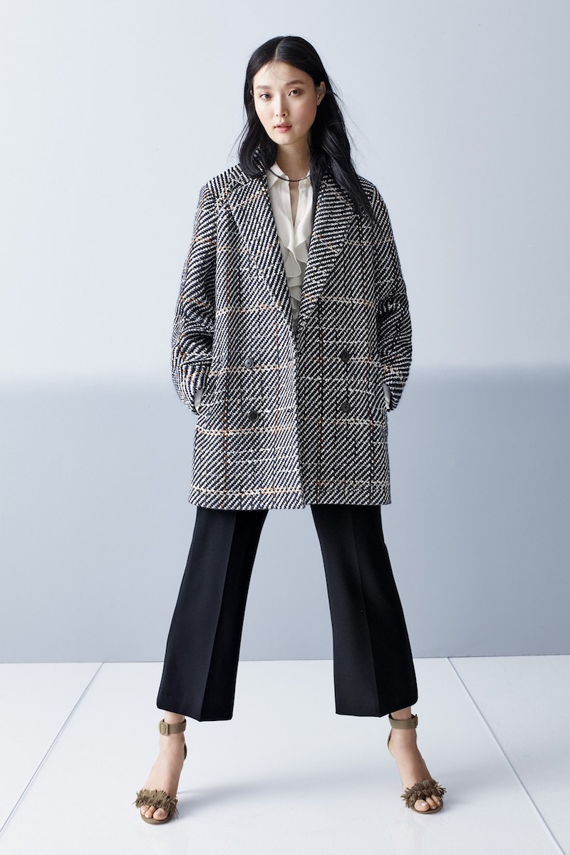 Theory Graphic Tweed Coat