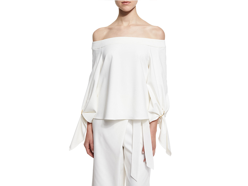 Tibi Agathe Off-the-Shoulder Stretch Poplin Top