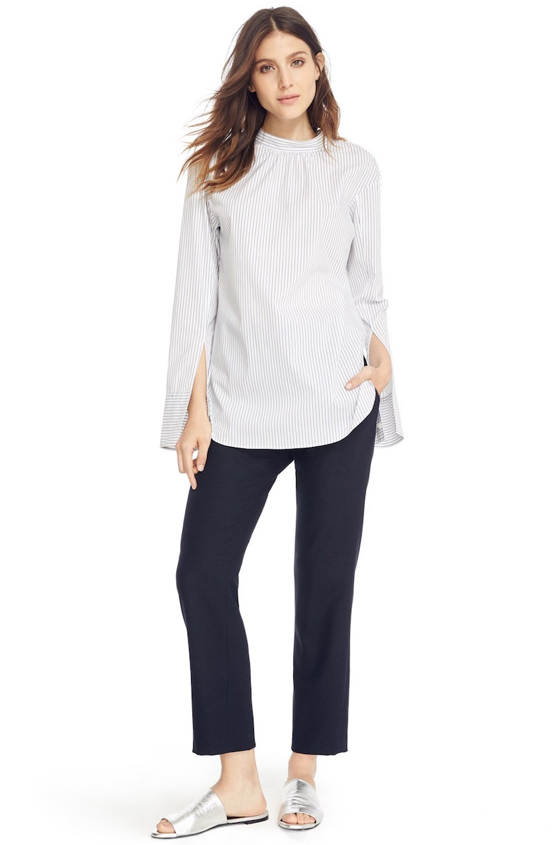 Tibi Open Back Poplin Shirt