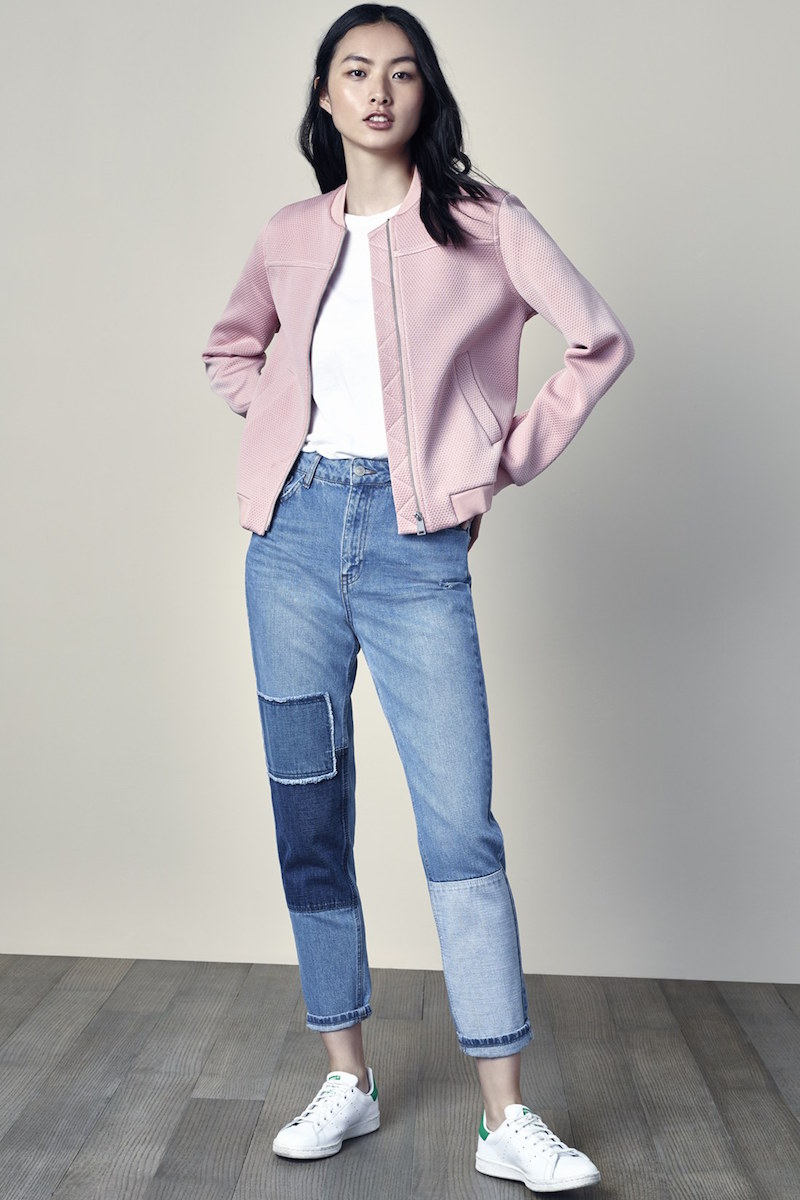 Topshop Patchwork High Rise Mom Jeans