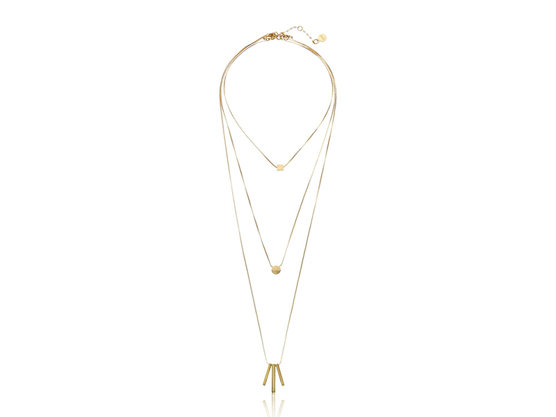 Trina Turk We'll Take Manhattan Gold Tone Triple Set Strand Necklace