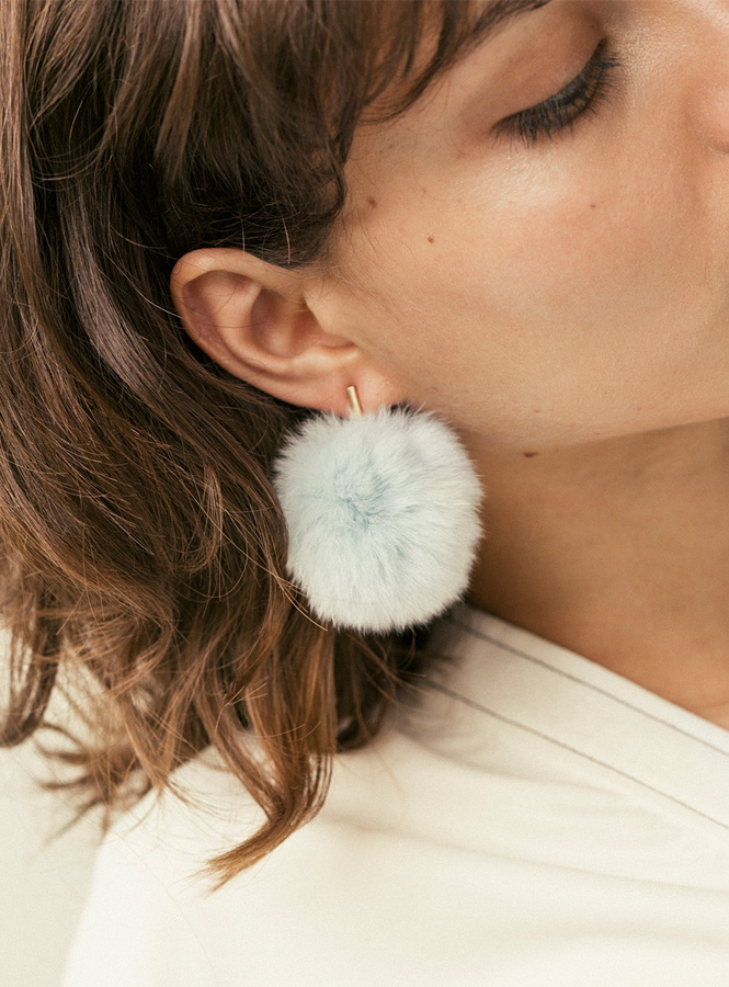 Tuleste 2%22 Pom Pom Earrings in Blue
